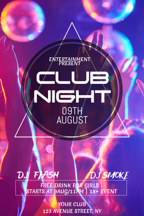 Club Party night flyer template 海报