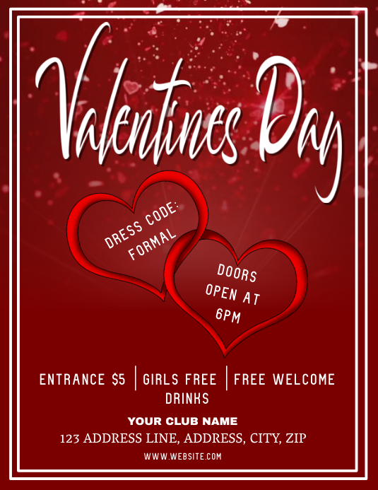 Club Valentines party Night ad Flyer Template Løbeseddel (US Letter)