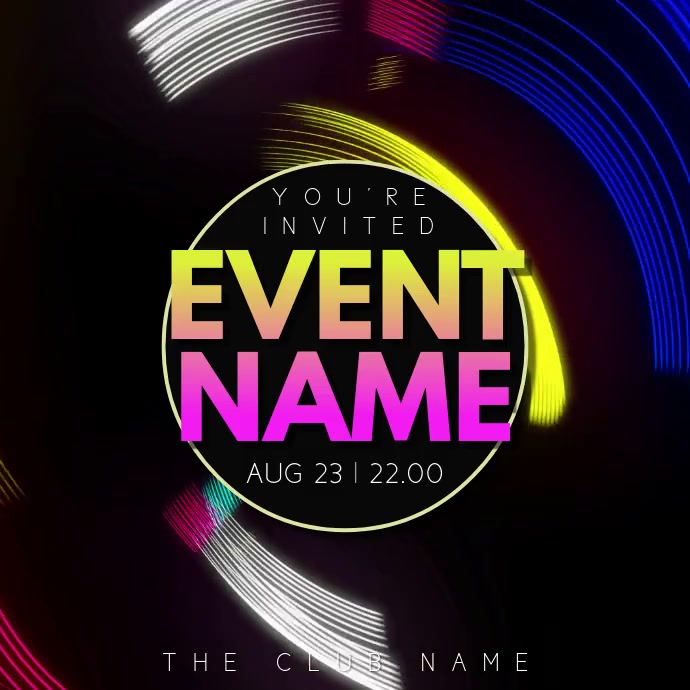 Clubbing Party Night Event Video Template Instagram 帖子