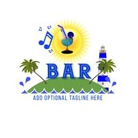 Coastal Bar White Background Artwork Logo template