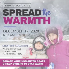 Coat Drive Fundraising Instagram Video Square (1:1) template