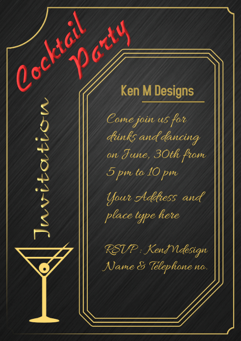 cocktail  party  invitation  card template