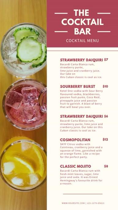 Cocktail Bar Digital Display Menu