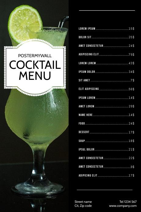 Cocktail bar Drink Menu Design Template