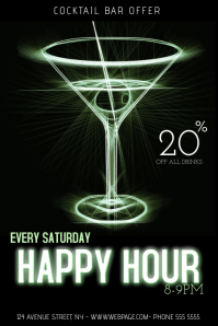 Cocktail bar happy hour flyer template
