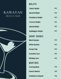 Cocktail Bar menu Template Flyer (US Letter)