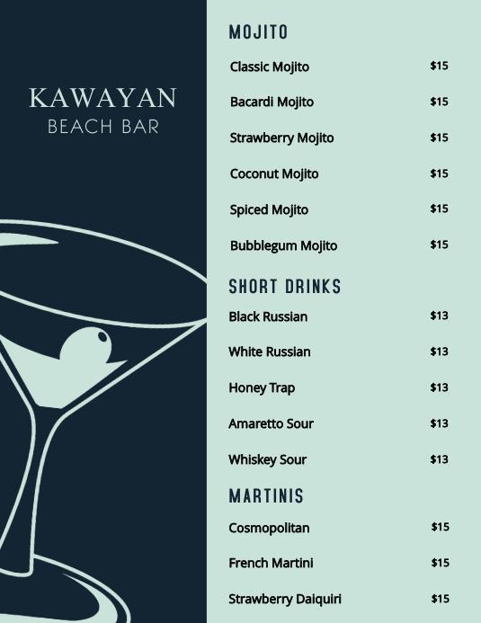 Cocktail Bar menu Template Pamflet (Letter AS)