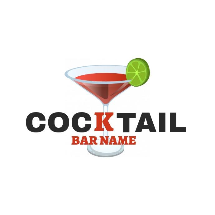 cocktail bar name logo Logótipo template
