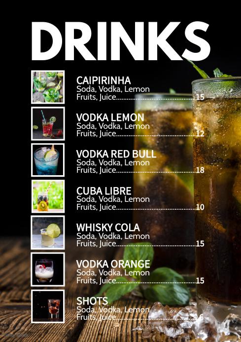 Cocktail Card Drinks Party Bar Club Menu Ad