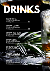 Cocktail Card Drinks Party Bar Club Menu Ad A4 template