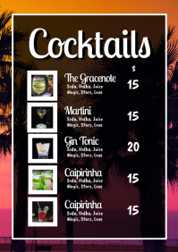 Cocktail Card Drinks Party Bar Restaurant Ad
