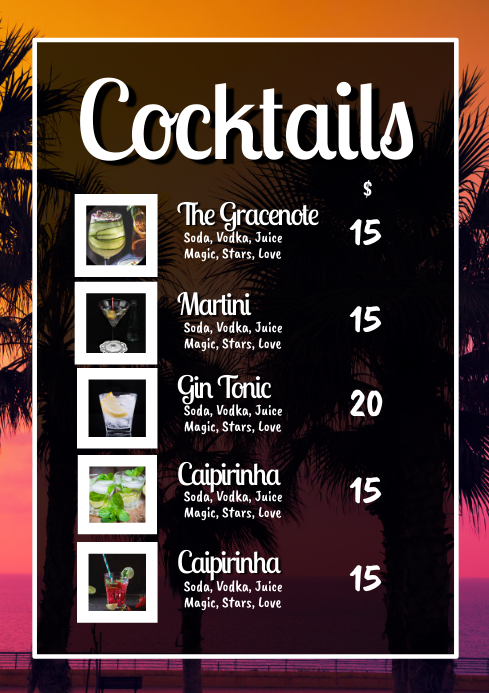 Cocktail Card Drinks Party Bar Restaurant Ad A4 template
