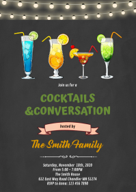 Cocktail conversation party invitation A6 template