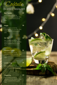 Cocktail Drinks bar Menu Template