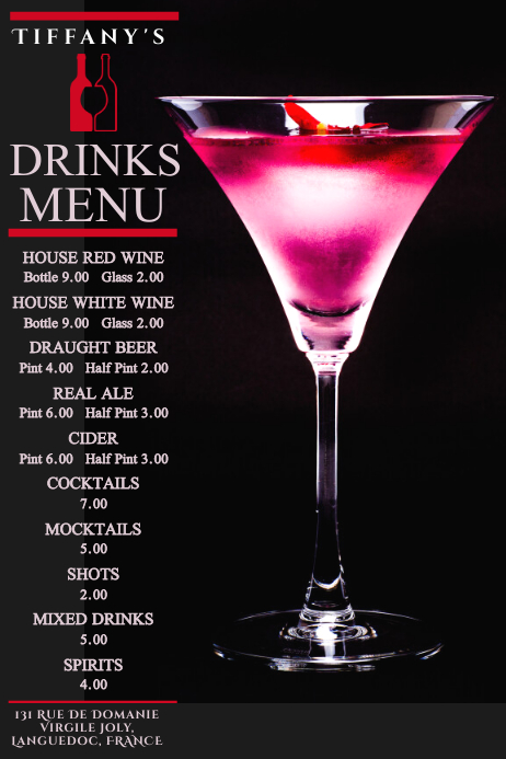 Cocktail Drinks Menu Poster Template