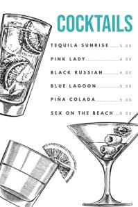 Cocktail Drinks Menu Template Poster