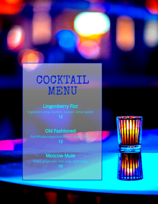 cocktail drinks Specials Happy Hour template