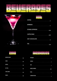 cocktail Flyer menu A4 Template Restaurant