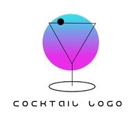 Cocktail Gradient Logo Логотип template