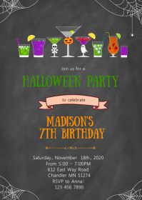 Cocktail halloween birthday party invitation A6 template
