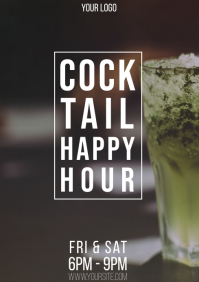 Cocktail Happy Hour bar promo flyer A4 template