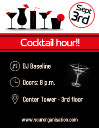 Cocktail hour party flyer