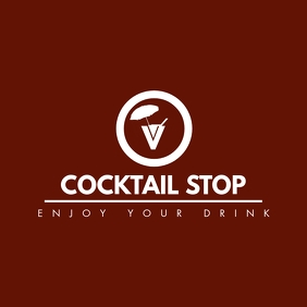 cocktail icon white and red colors logo template