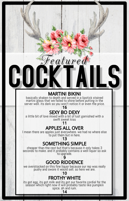 cocktail list featured menu