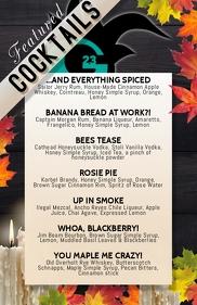 cocktail list featured menu