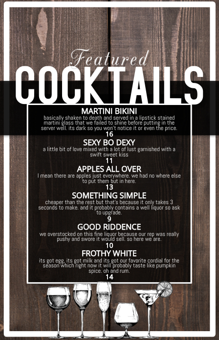 cocktail list featured menu Halv side bred template