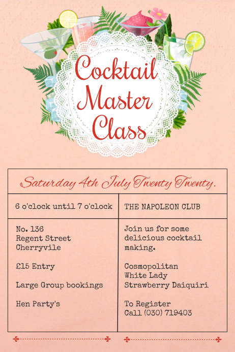 Cocktail Masterclass Template Poster