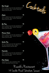 Cocktail Menu Card Template