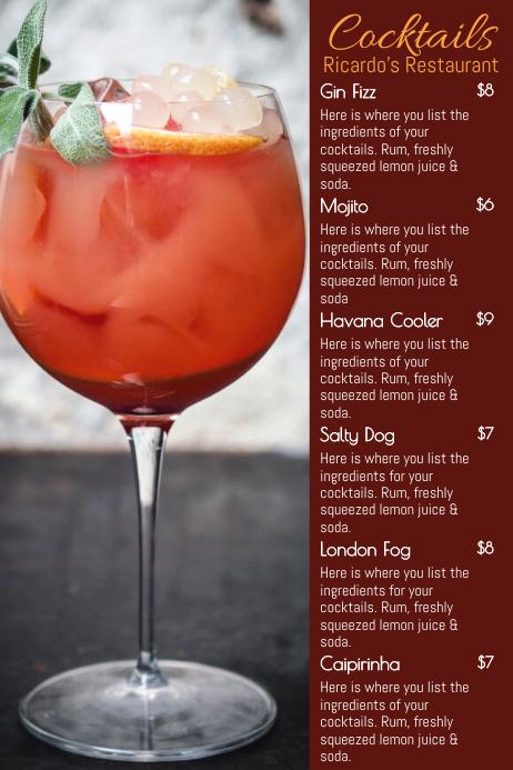 Cocktail Menu Card Template