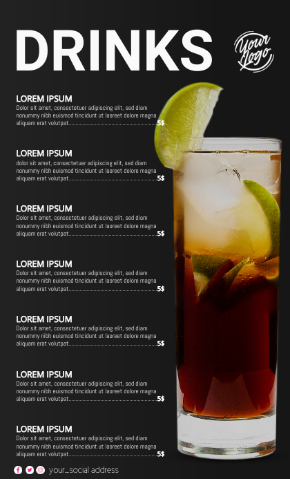 Cocktail Menu Format US Legal template