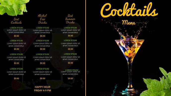 cocktail menu Digitale Vertoning (16:9) template
