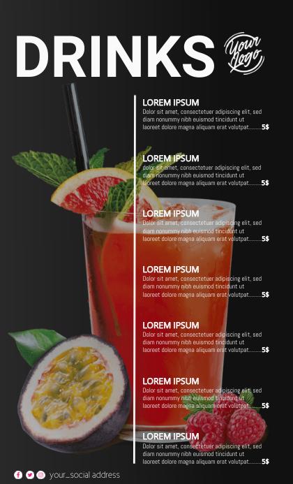 Cocktail Menu Format US Legal template