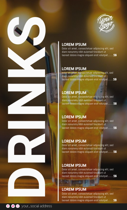 Cocktail Menu US Legal template