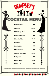 Cocktail Menu Half Page Wide template