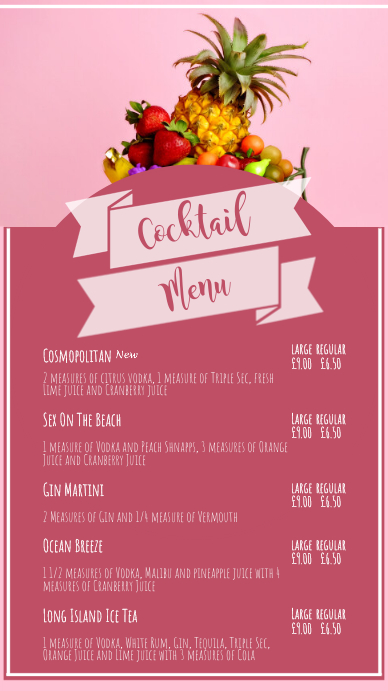 cocktail menu digital display