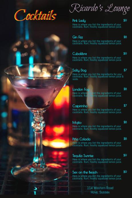 copy of cocktail menu poster template