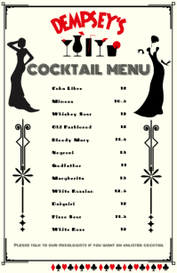 Cocktail Menu Tabloid