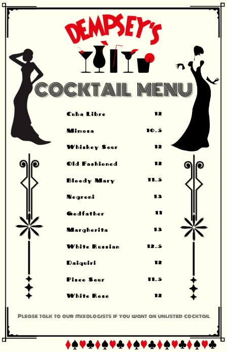 Cocktail Menu Tabloid