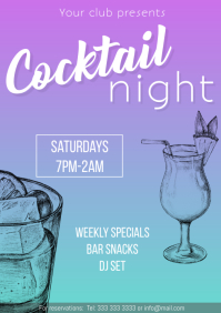 Cocktail night flyer promo gradient