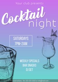 Cocktail night flyer promo gradient
