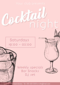 Cocktail night flyer promo pink