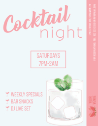 Cocktail night flyer template summer