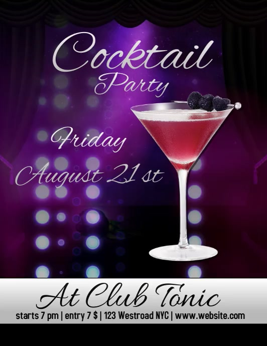 cocktail party flyer template digital Ulotka (US Letter)