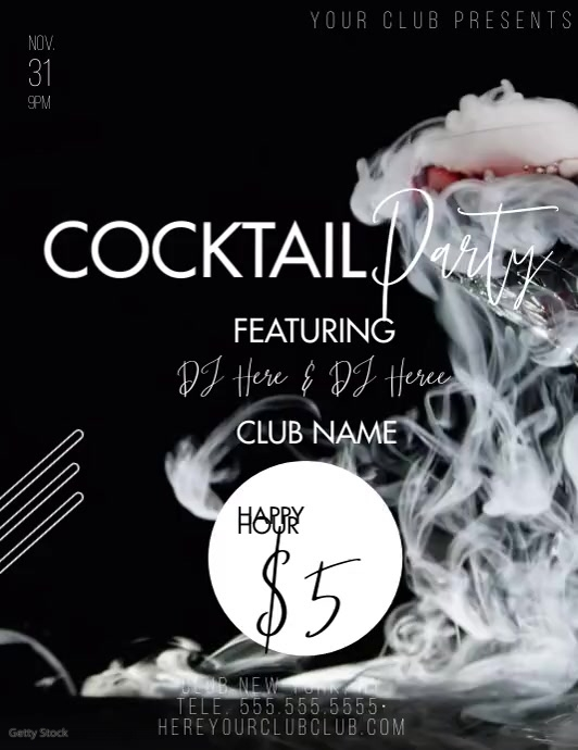 Cocktail Party Happy Hour Video Ad Ulotka (US Letter) template