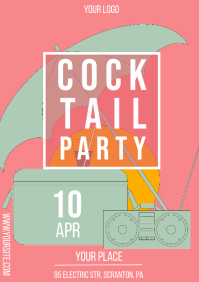 Cocktail Party Stylish Promo Flyer Beach A4 template