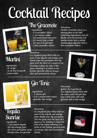 Cocktail Recipes Recipe Drinks Food Blog Bar Magazine A4 template